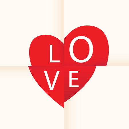 paper folding: love heart paper background