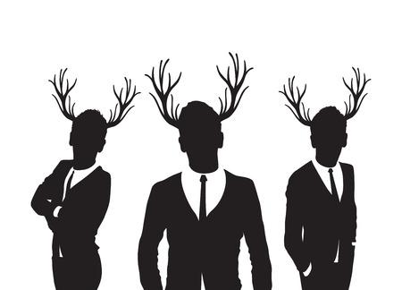 fiancee: stag men group Illustration
