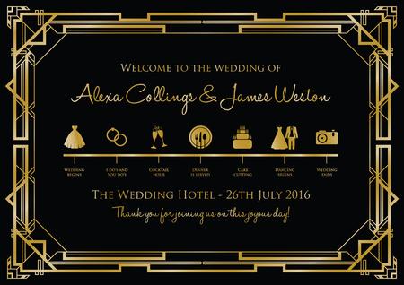 hitched: wedding timeline background gatsby Illustration