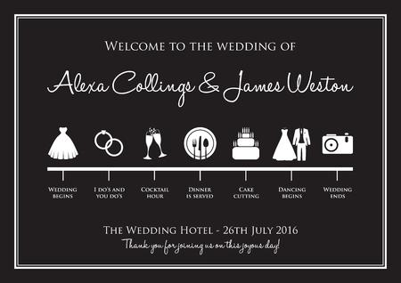 bröllop: bröllops tidslinje bakgrund Illustration