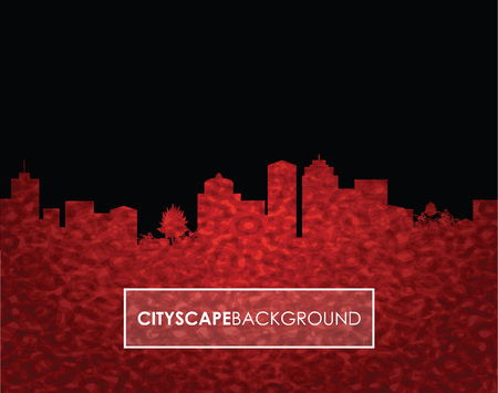 city at night: a red number cityscape background