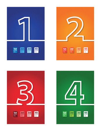 jumbled: a set of four colourful number backgrounds Illustration