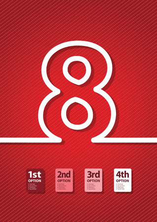 educational material: a red number background
