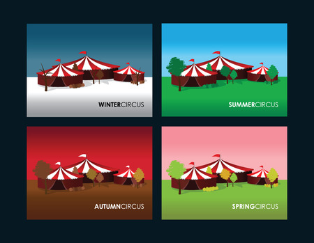 revue: a set of four seasonal circus backgrounds