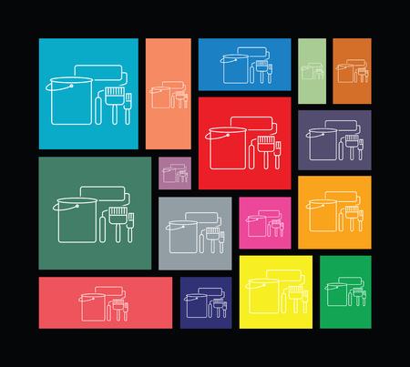 brocha de pintura: pincel conjunto de iconos