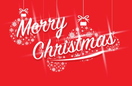 merry christmas on a set of snowflake ball balls Stock Illustratie
