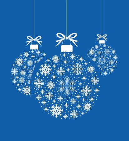 blue card: set of snowflake ball balls