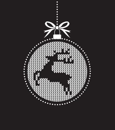 vector pattern: black and white christmas ball ball