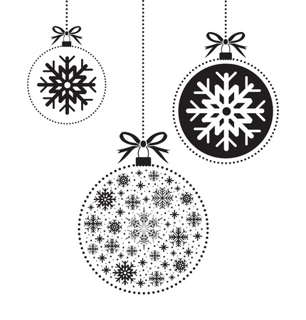 검은 색과 흰색 크리스마스 공 공 일러스트