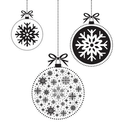 blanco y negro bola de bola de Navidad Vectores