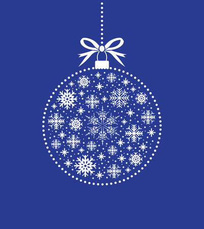 blue ball: blue and white christmas ball ball Illustration