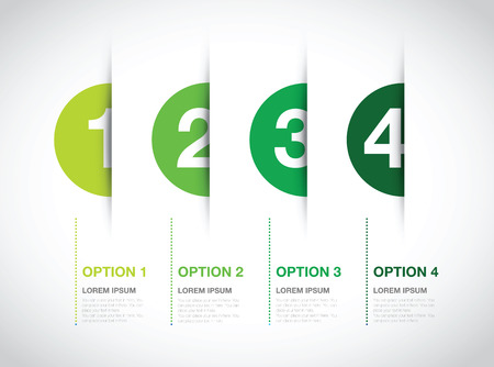 green numbered option background Vettoriali