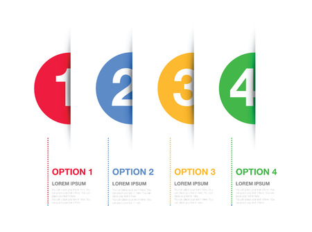 one by one: multi coloured numbered option background Illustration