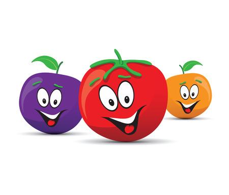 trio: happy orange plum and tomato faces Illustration