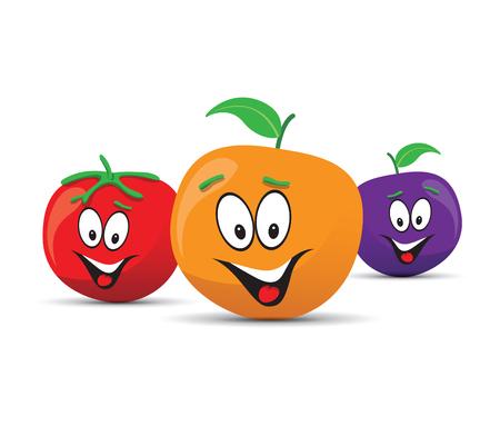country kitchen: happy orange plum and tomato faces Illustration