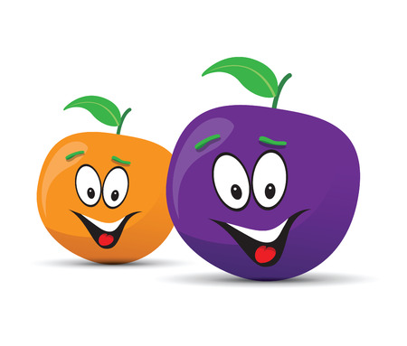 country kitchen: happy plum and orange faces Illustration