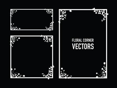 negro de fondo floral esquinas Ilustración de vector