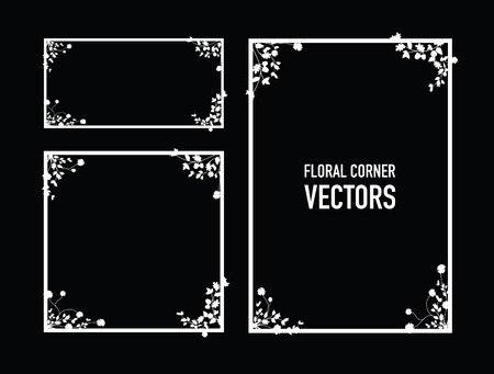noir floral coins fond Vecteurs