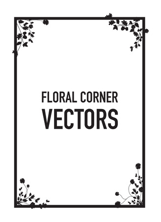 design abstract: black floral corners background Illustration