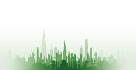 tallest bridge: famous landmarks cityscape Illustration