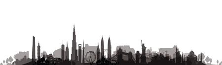 famous landmarks cityscape 일러스트