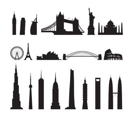 cityscape silhouette: famous landmarks cityscape Illustration