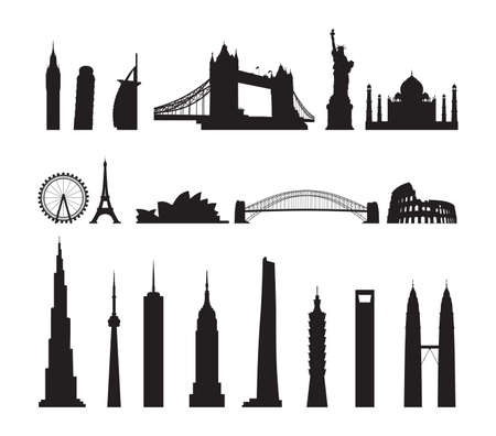famous landmarks cityscape Illustration