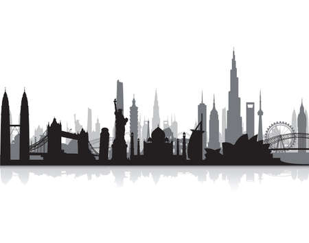 design background: famous landmarks cityscape Illustration