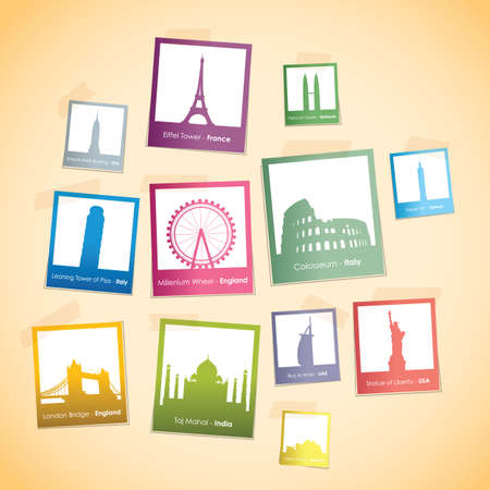 shanghai skyline: famous landmarks photo boxes Illustration