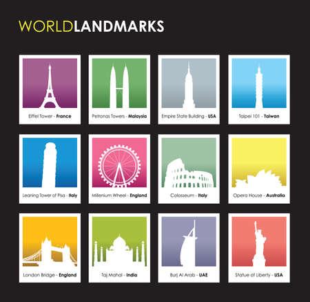 corporate buildings: famous landmarks photo boxes Illustration