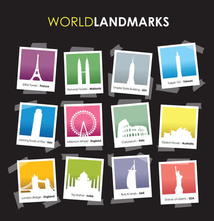 tallest: famous landmarks photo boxes Illustration