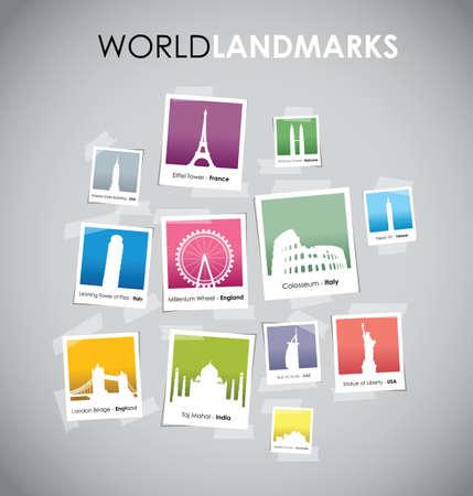 building trade: famous landmarks photo boxes Illustration