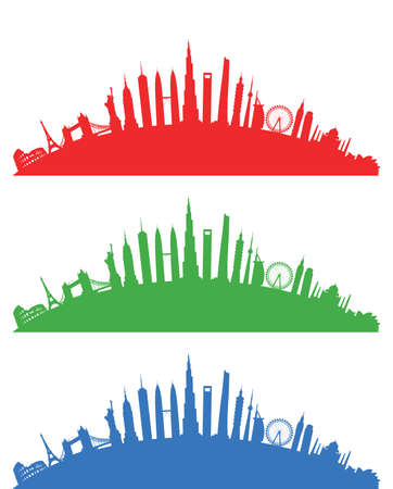building trade: world landscape cityscape group Illustration