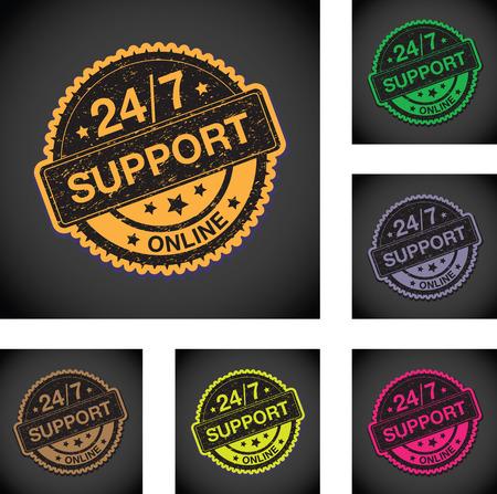 twenty four hours: twenty four seven online support sign set