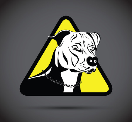 life guard stand: warning staffordshire terrier dog silhouette