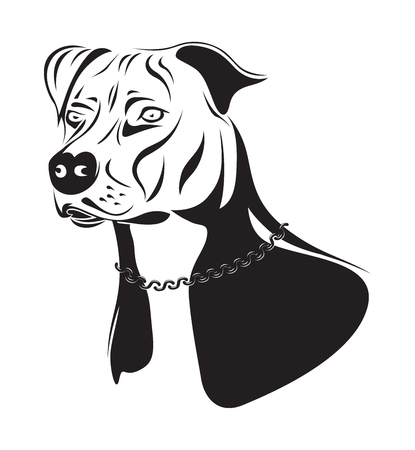 black and white pit bull: staffordshire terrier dog silhouette