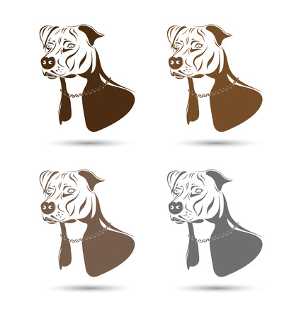 staffordshire terrier dog silhouette set