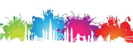 abstract splash cityscape Illustration