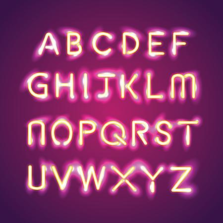 fluorescent tubes: alphabet illumination text group