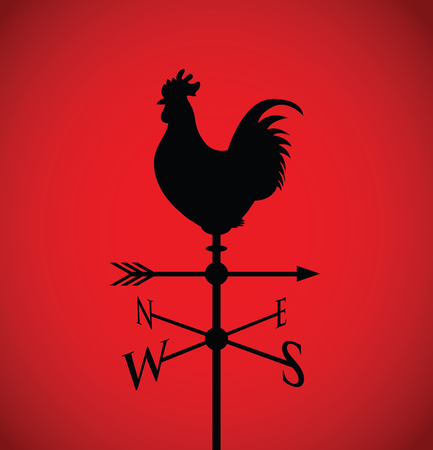 weathervane: cockerel on a weather post