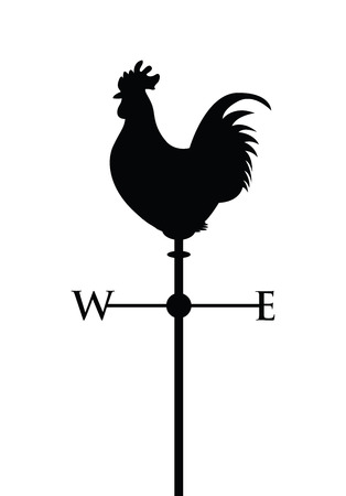 rooster weather vane: cockerel on a weather post