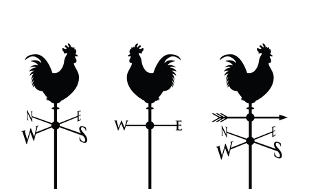 rooster weather vane: black cockerel silhouette Illustration