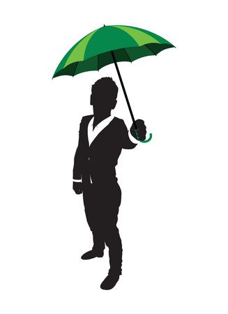 black business men: green umbrella rain background