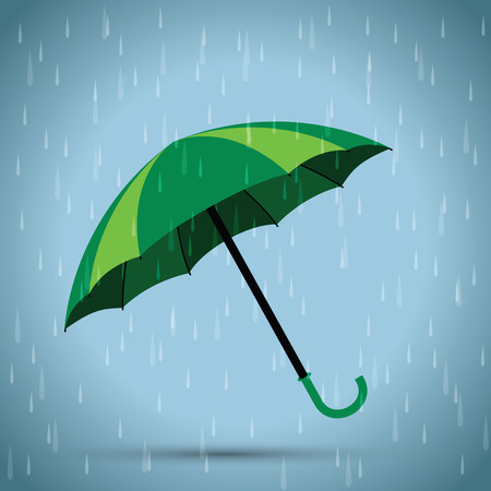 green issue: green umbrella rain background