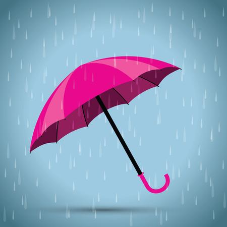 rain background: pink umbrella and a rain background Illustration
