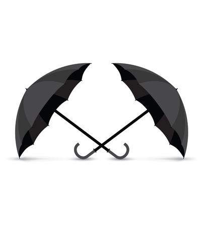 black: two black umbrellas Illustration