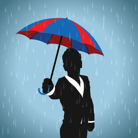 black business men: blue and red umbrella