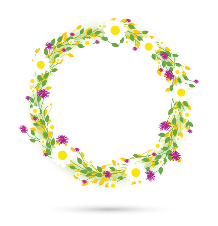edge: round floral daisy pattern Illustration