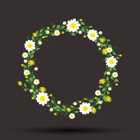 round: round floral daisy pattern Illustration