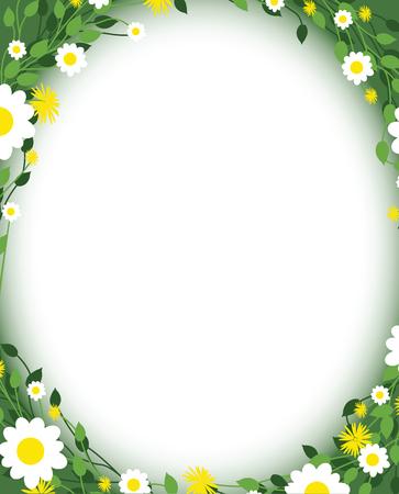 borde de flores: modelo de la margarita floral redondo Vectores